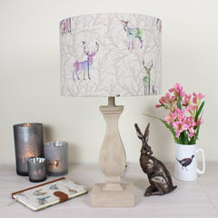 Colourful Stag Linen Print Drum Lampshade