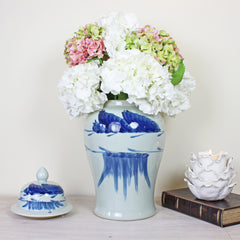 Windswept White and Blue Ginger Jar