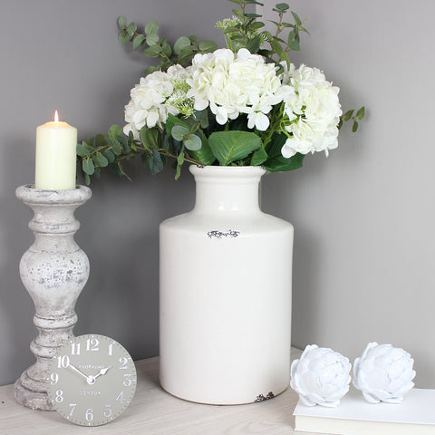 Distressed Bottle Vase with White Real Feel Hydrangea