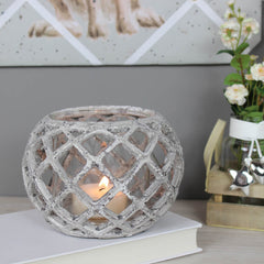 Round Ceramic Lattice Hurricane Lantern