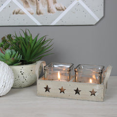 Two Star Glass Tea Light Holder