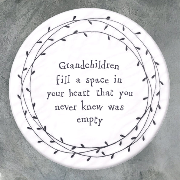East Of India Grandchildren Fill A Space In Your Heart… Porcelain Leaf Coaster