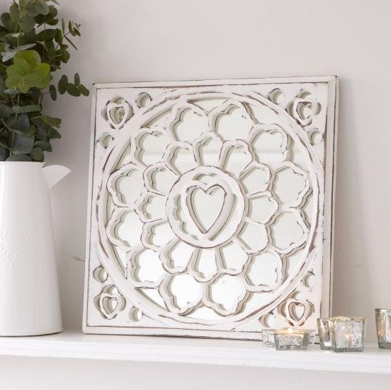 White Distressed Heart Mirror Panel