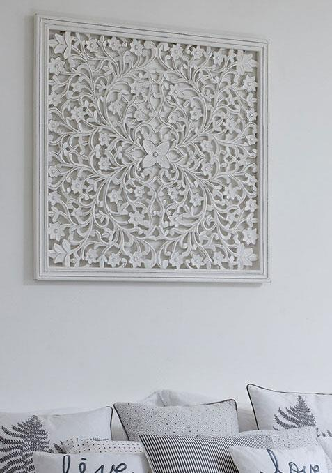 Large White Carved Wall Panel