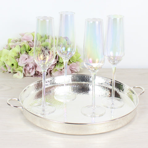 Set of 4 Iridescent Champagne Glass