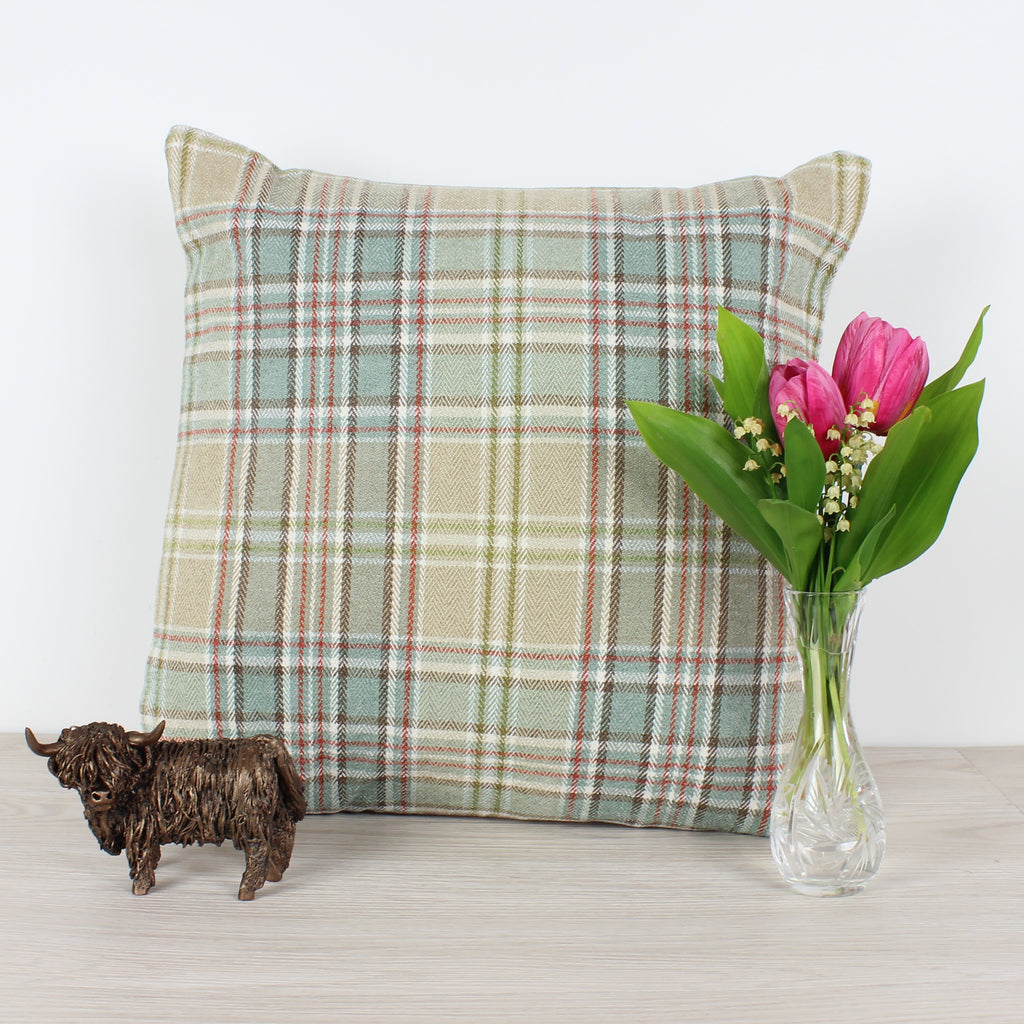 Duck Egg Voyage Lythmore Checked Cushion
