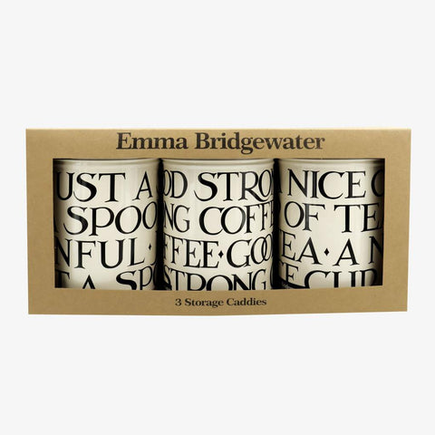 Emma Bridgewater Black Toast Set of 3 Round Caddies