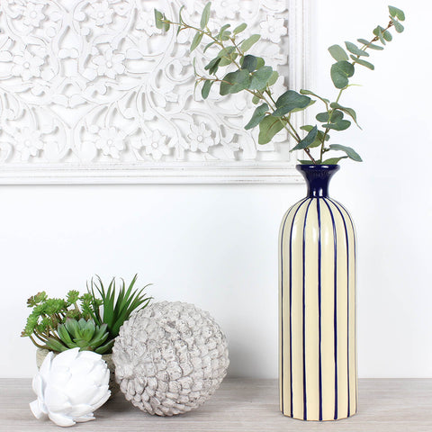 Large Blue and Cream Striped Bottle Vase
