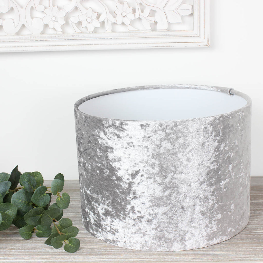 Ice Grey Crushed Velvet Drum Lampshade