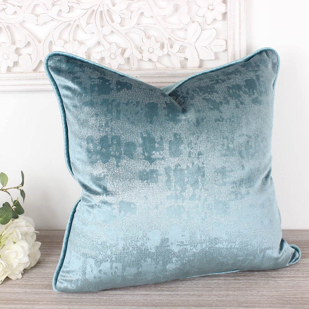 Duck Egg Mercury Velvet Cushion
