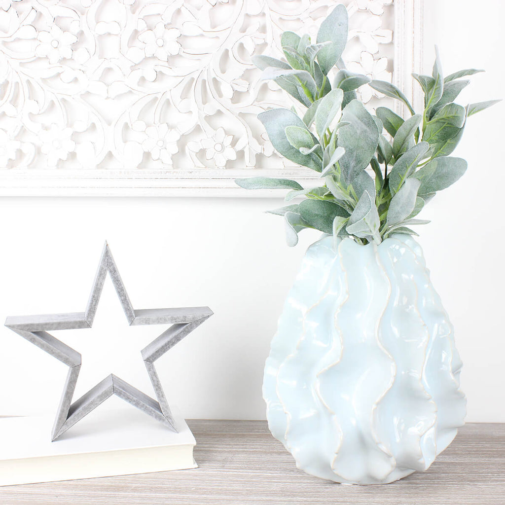 Off White Ceramic Wave Vase