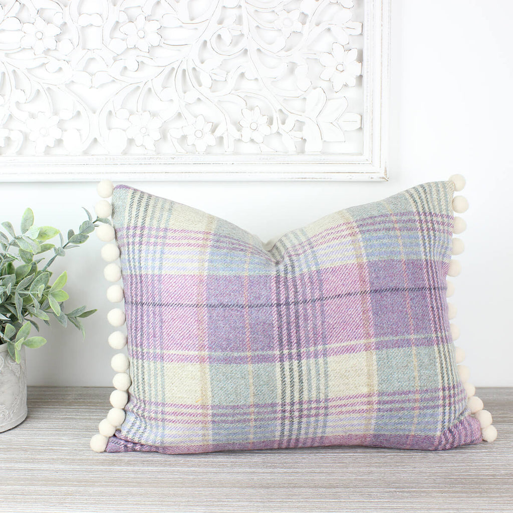 Kincraig Lilac Tweed Wool Pom Pom Cushion
