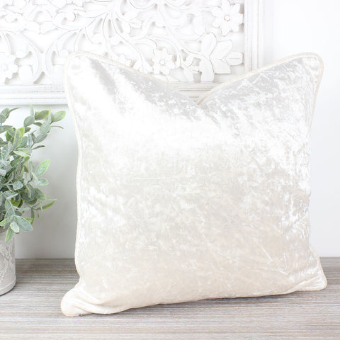 White Crushed Velvet Cushion