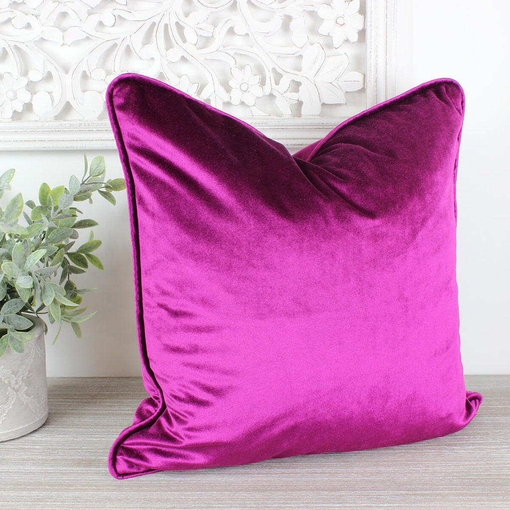 Glamour Fuchsia Pink Velvet Piped Cushion