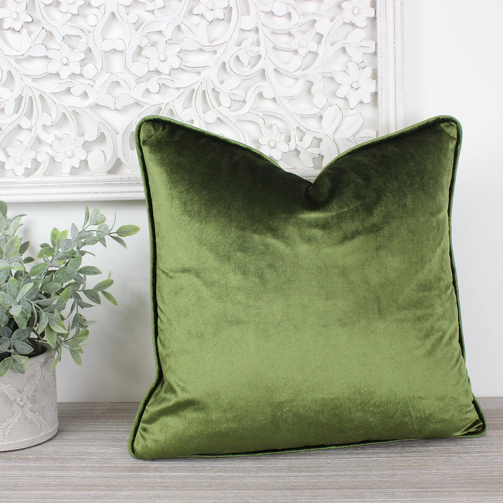 Glamour Sage Velvet Piped Cushion