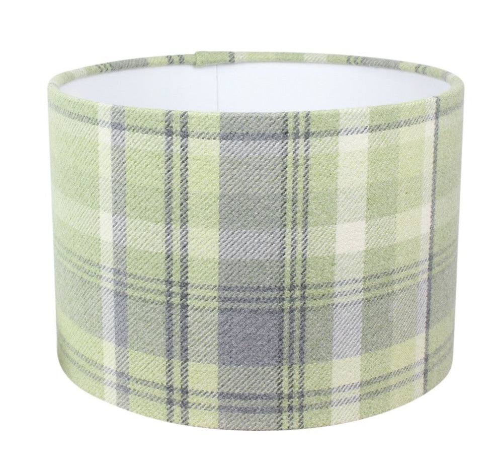 Sage Elgin Check Drum Lampshade