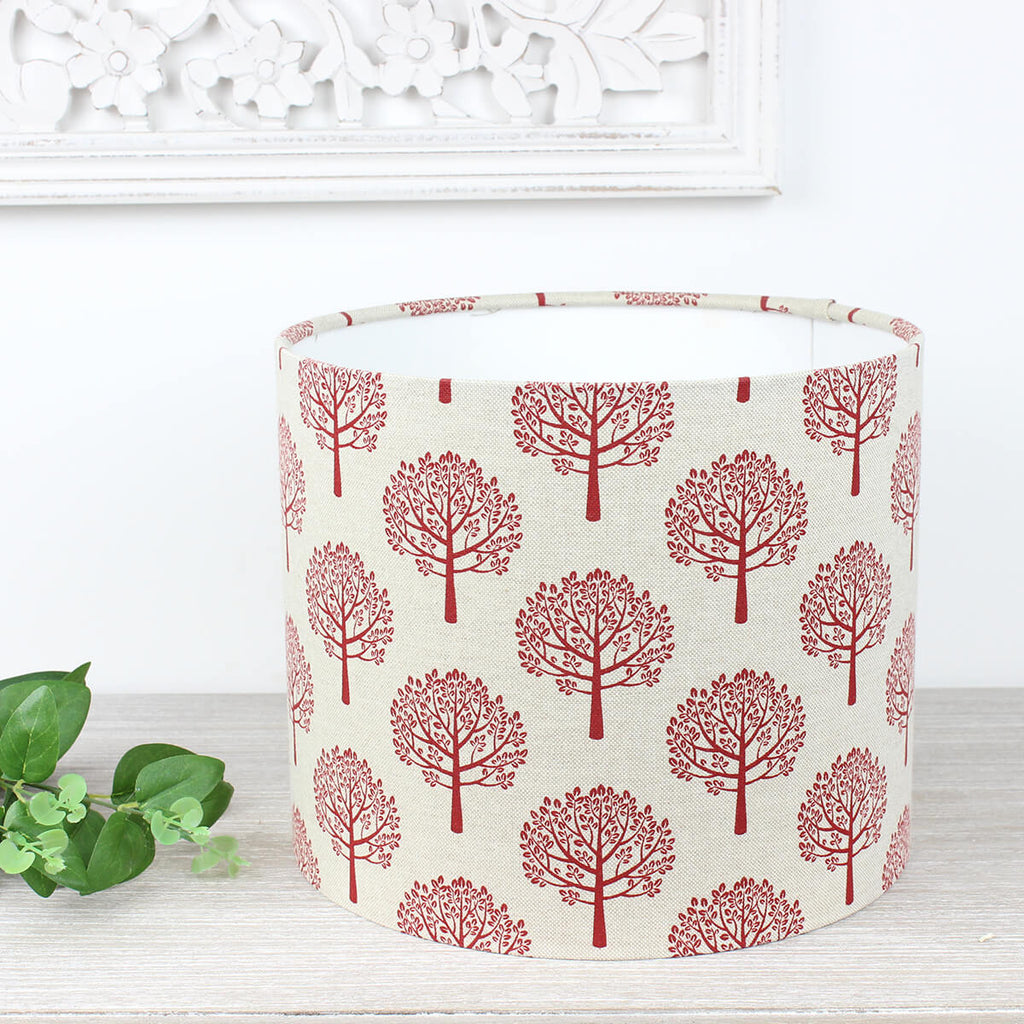 Red Mulberry Tree Linen Print Lampshade