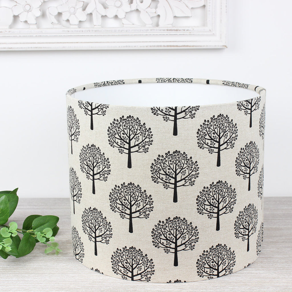 Black Mulberry Tree Linen Print Drum Lampshade