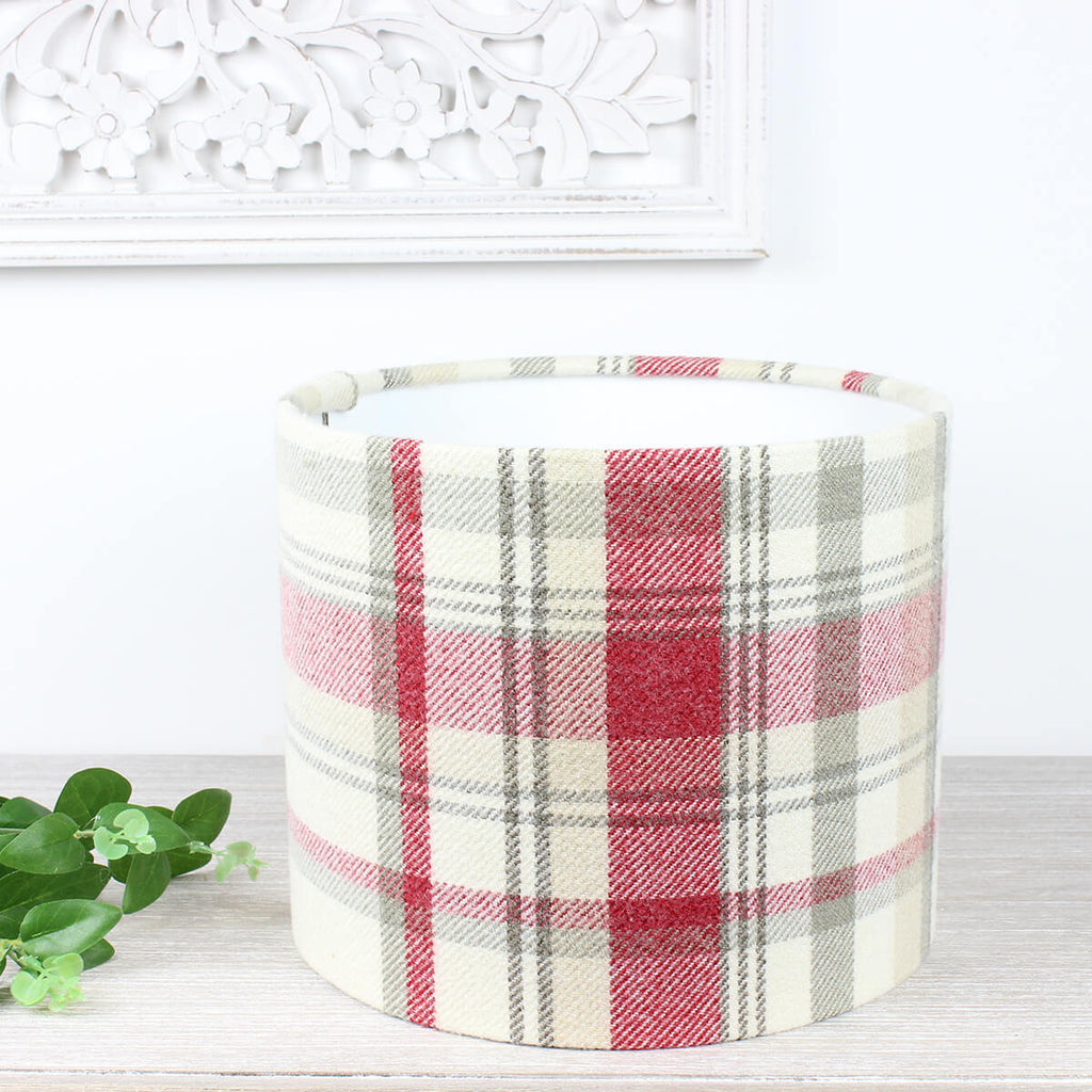 Cranberry Elgin Checked Drum Lampshade