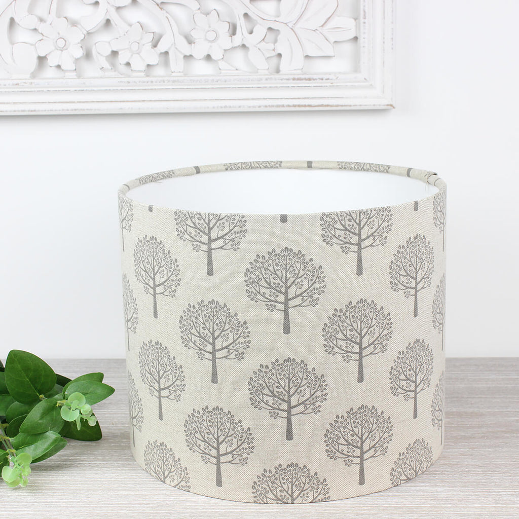 Grey Mulberry Tree Linen Print Lampshade