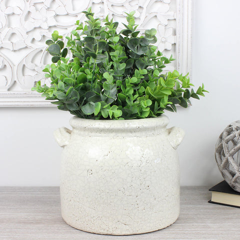 Elena Distressed Ceramic Pot with Handles