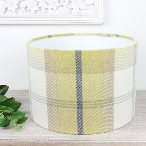 Ochre Yellow Balmoral Tartan Check Drum Lampshade