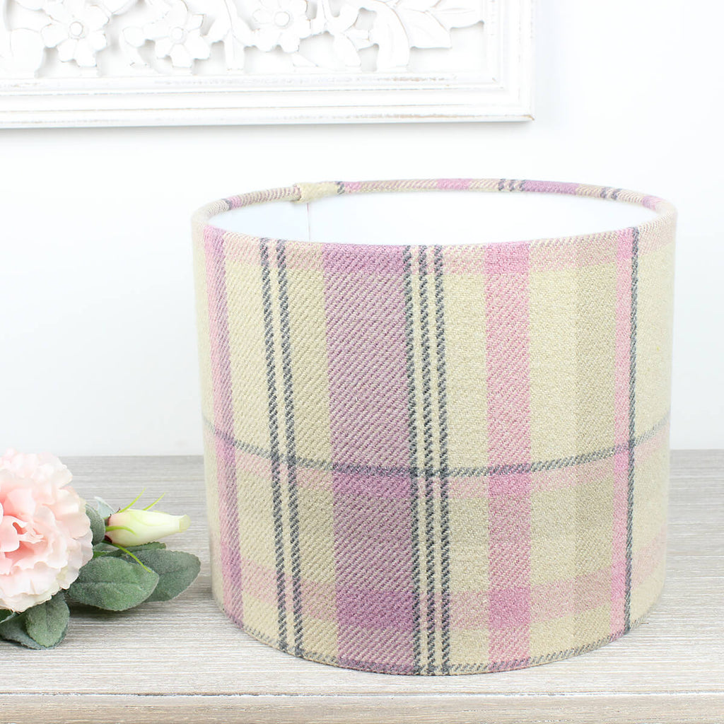 Pink Mauve Elgin Skye Check Drum Lampshade