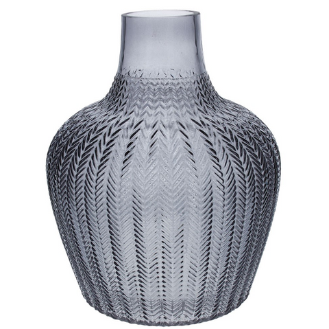 Grey Ribbed Geo Glass Vase