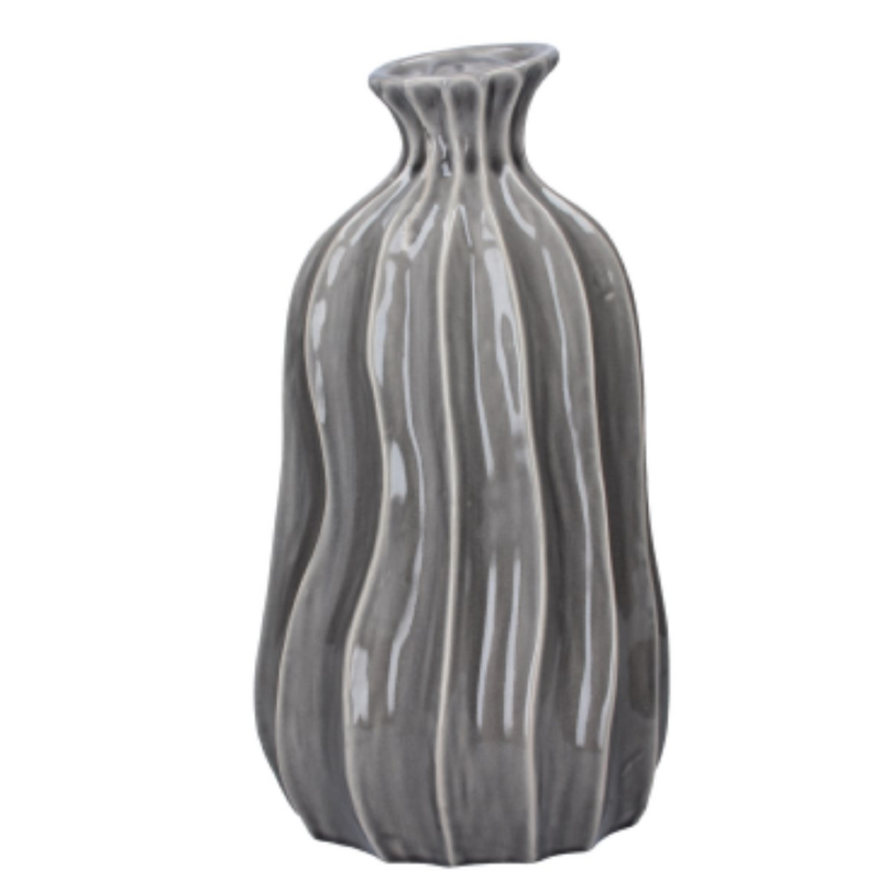 Grey Large Ceramic Wave Balloon Vase