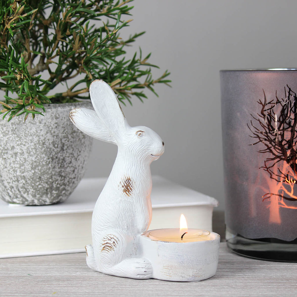 Harriet Grey Hare Tea Light Holder