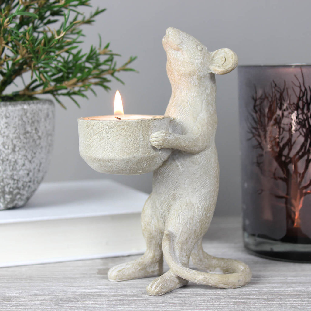Timothy Grey Mouse Tea Light Holder