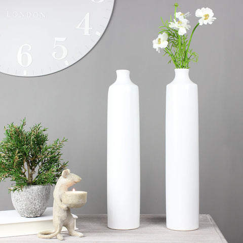 Small White Deco Bottle Vase