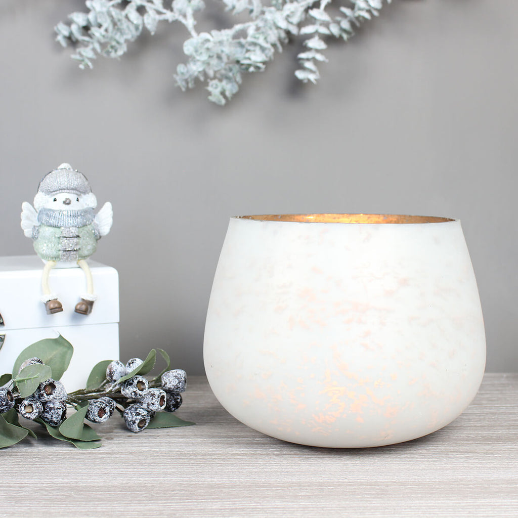 Large White Patterned Candle Holder