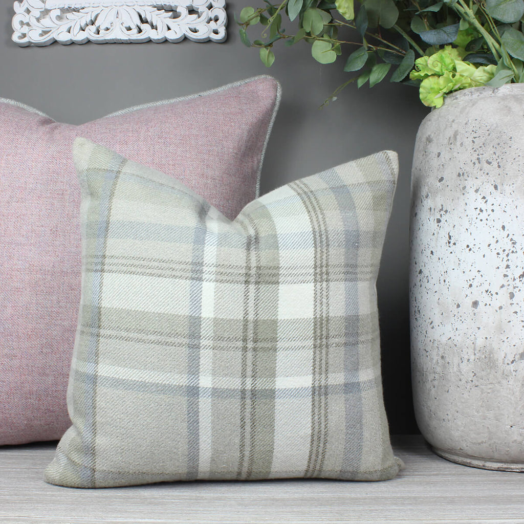 Taupe Skye Checked Cushion