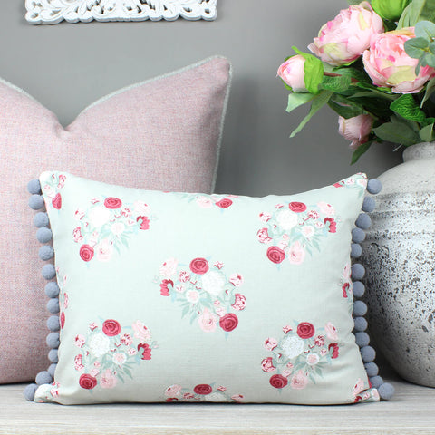 Peonies Floral Grey Pom Pom Cushion