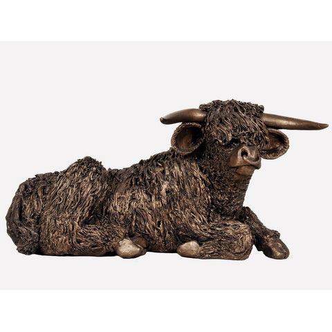 Highland Bull Resting Frith Bronze Sculpture
