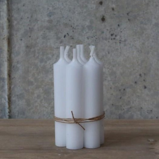White Short Dinner Candle Bundle x5