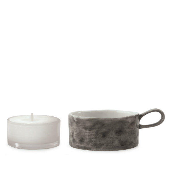 East of India Handled Tea Light Holder in Black Wash