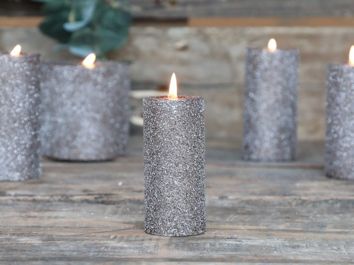 Mocca Rustic Glitter Pillar Candle