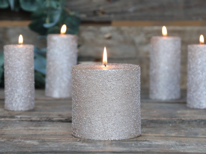 Powder Rustic Glitter Pillar Candle