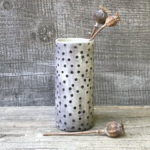 Medium Hand Painted Vase with Dimpled Spot