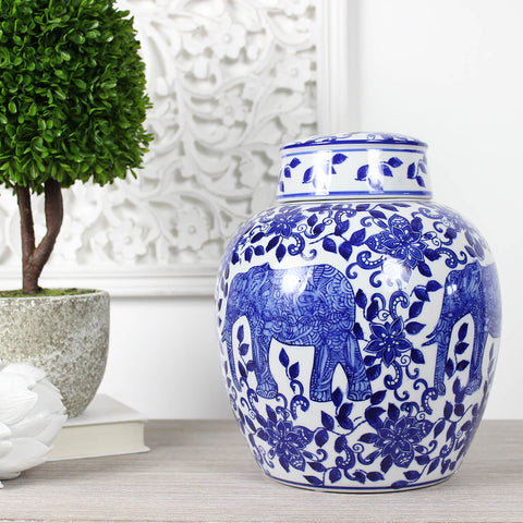 Blue and White Ceramic Jar