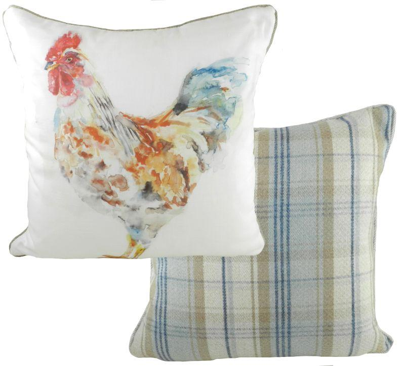 Watercolour Cockerel Checked Cushion 43cm x 43cm