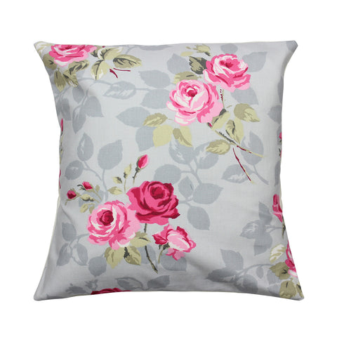 Grey Nancy Rose Floral Cushion Cover