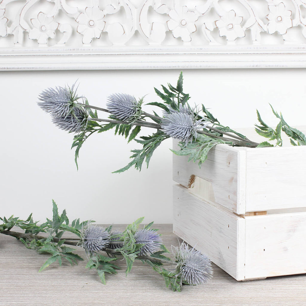 Faux Eryngium Blue Thistle Stem