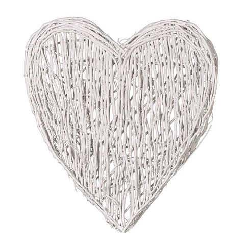 Extra Large White Wicker Wall Heart