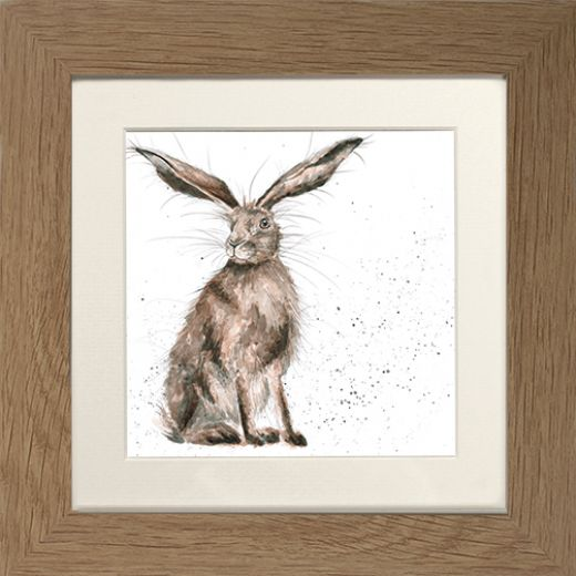 Wrendale Hare Picture Good Hare Day Oak Framed Card