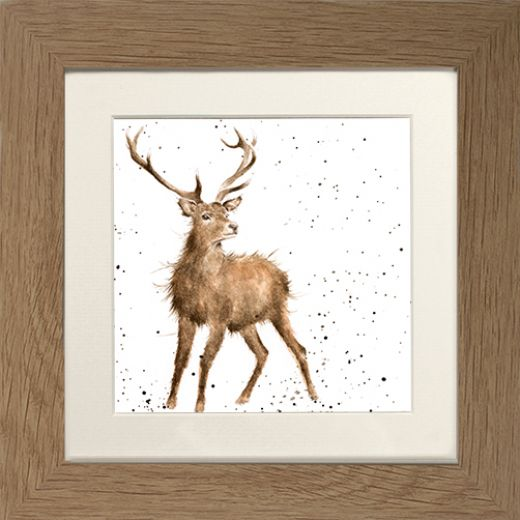 Wrendale Stag Picture Wild At Heart Oak Framed Card
