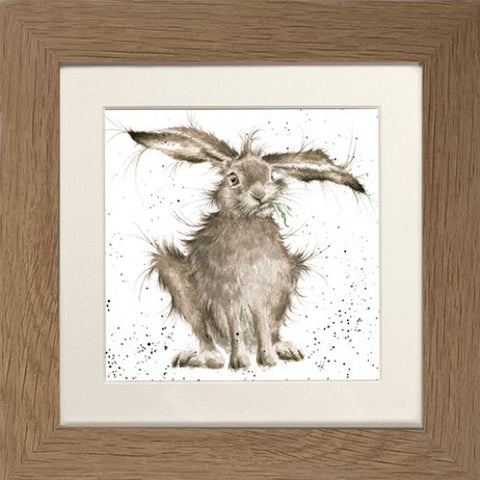 Wrendale Hare Picture Hare Brained Oak Framed Card