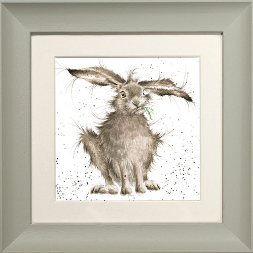 Wrendale Hare Picture Hare Brained Sage Framed Card